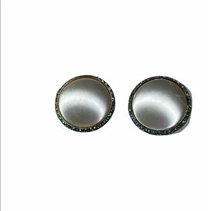 Vintage Silver Circle blue stone Clip On Earrings